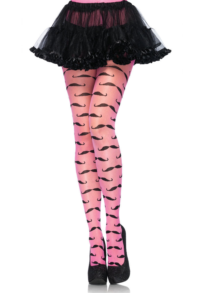 Leg Avenue Spandex Sheer Mustache Pantyhose Stockings Pink Black