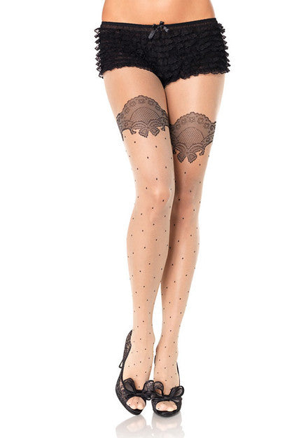 Leg Avenue Spandex Sheer Polka Dot Pantyhose with Printed Scalloped Lace Accent Stockings