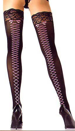 Leg Avenue Stay Up Lace Top Sheer Thigh Highs with Woven Corset Backseam Stockings