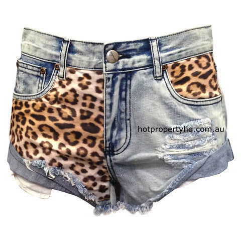 Bam Bam Garage Leopard Denim Shorts