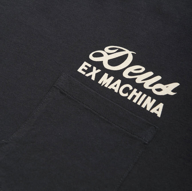 Deus Ex Machina Milan Address TShirt Black DNSS41065B Part of the Deus Ex Machina Classics collection. This regular fit pocket tee features front and back address prints, a soft wash and comfortable 180gsm combed cotton jersey construction. Designed and tested at the Deus House of Simple Pleasures, Camperdown Sydney  Famous Rock Shop 517 Hunter Street Newcastle 2300 NSW Australia