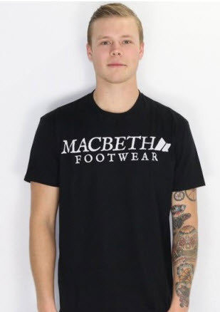 Macbeth Vintage Logo Vegan T-Shirt Black White