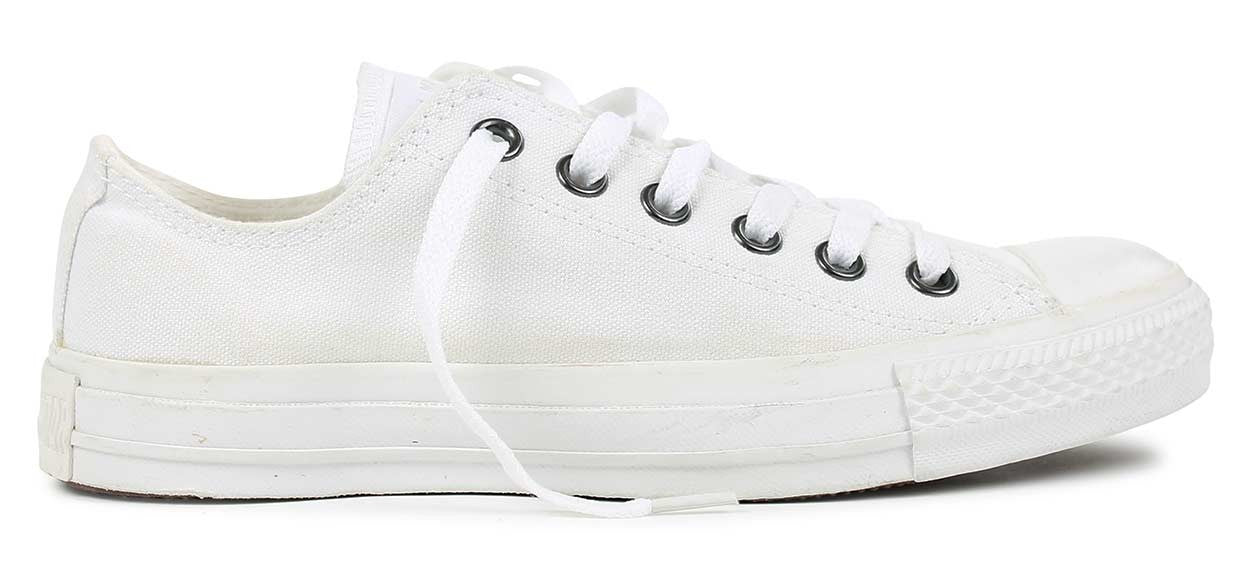 7c5689806728 Converse Chuck Taylor All Stars White Monochrome Ox with silver eyelets  Famous Rock Shop Newcastle 2300 ...