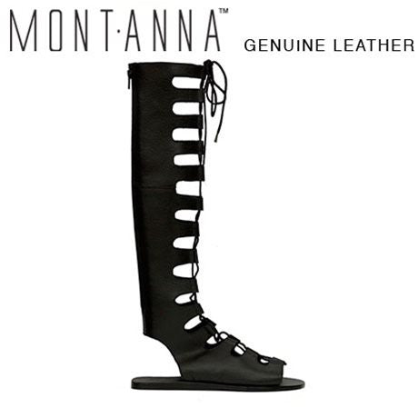 Montanna Victory Black Pebble Leather Sandals