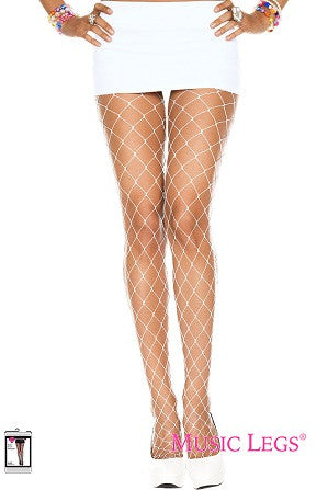 Music Legs Diamond Net Spandex Pantyhose White 9024
