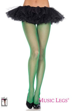 Music Legs Fishnet Seamless Pantyhose Kelly Green 9001