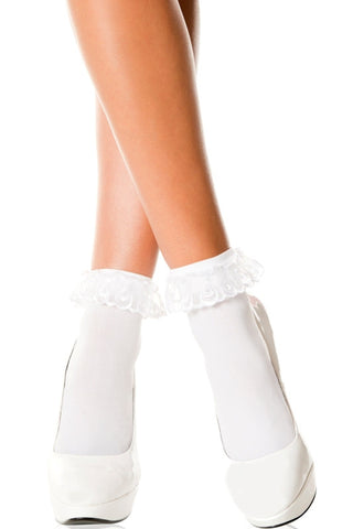Music Legs Ruffle Socks White