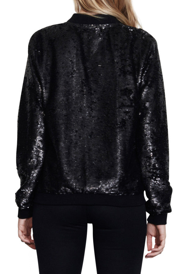 Nana Judy Watchtower Sequin Bomber Jacket Black