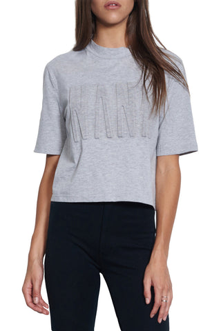 Nana Judy Bonita Polo Crop Tee Grey