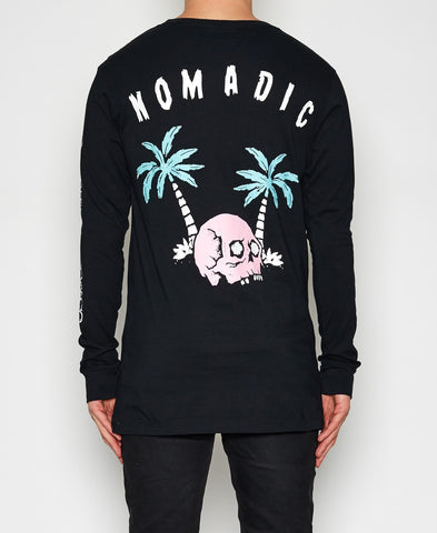 Nomadic Paradise Waves & Bones LS T-Shirt Jet Black NO150709