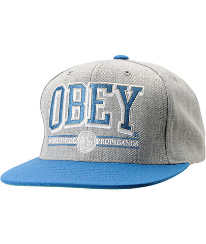Obey Athletics Snapback Grey Light Blue
