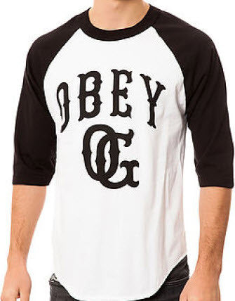 Obey Cooperstown Raglan White Black