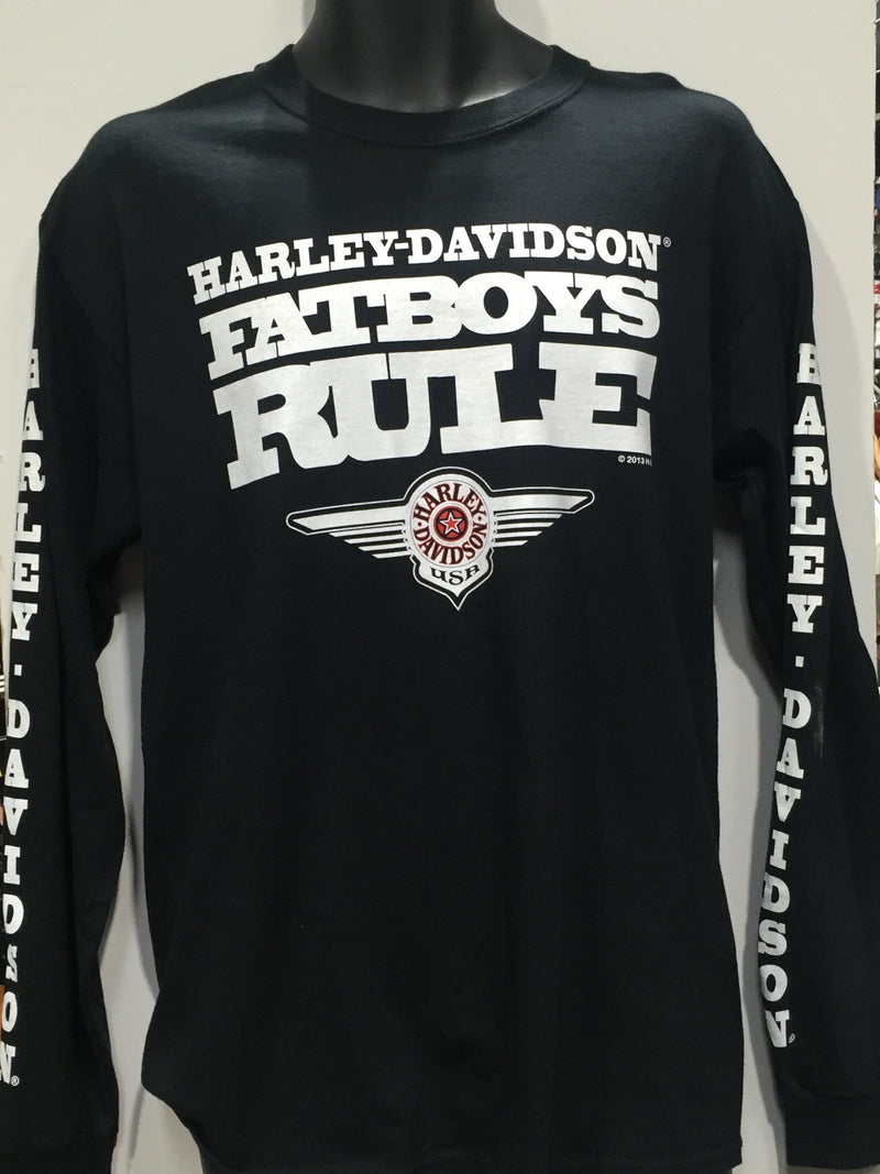 Harley Davidson Fat Boy  Long Sleeve Shirt. Men's Sizing Small - 2XLarge. Instock. Famous rock shop Newcastle 2300 NSW Australia