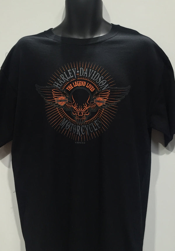 Harley Davidson 'Legend Lives Skull' T-Shirt Famous Rock Shop Newcastle 2300 NSW Australia