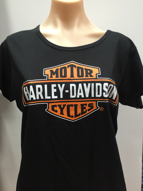 Harley Davidson 'Stretch Bar & Shield' Women's T-Shirt (Black)  Famous Rock Shop Newcastle 2300 NSW Australia