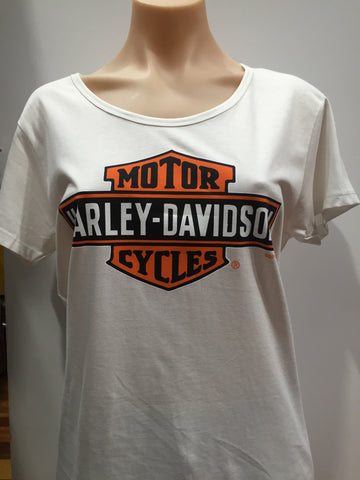 Harley Davidson 'Stretch Bar & Shield' Women's T-Shirt (White) Famous Rock Shop Newcastle 2300 NSW Australia