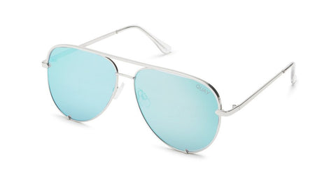 Quay Australia High Key Silver Blue Sunglasses Mirror QUAY x DESI PERKINS