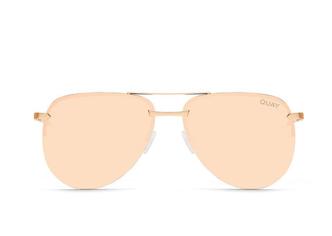 Quay Australia The Playa Mirrored Aviator Gold/ Pink Sunglasses