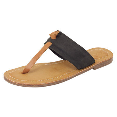 Roc Raj Black Tan Leather Sandals