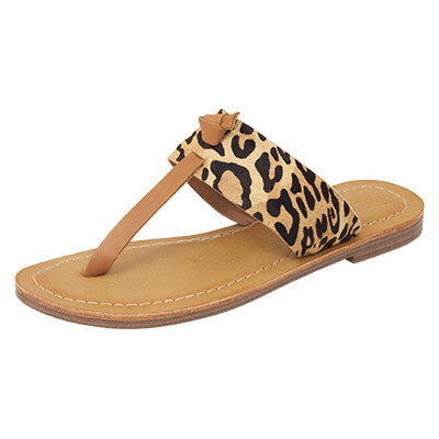 Roc Raj Leopard Tan Leather Sandals