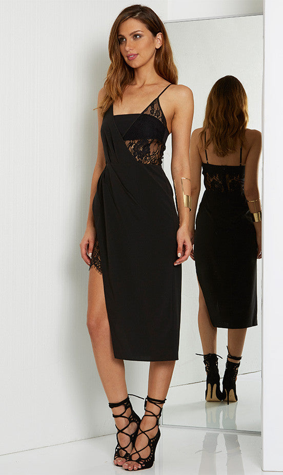 Mind Games Midi Black Dress