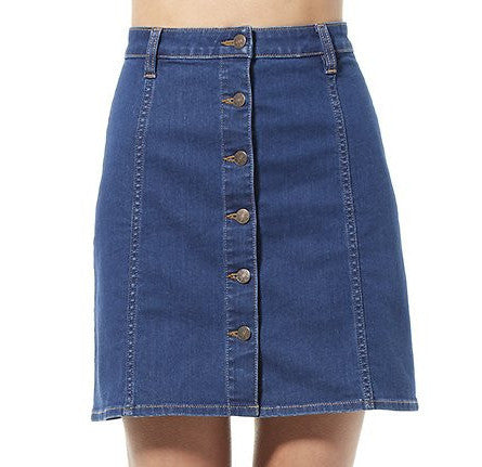 Riders By Lee Button Front Skirt Blue Revival