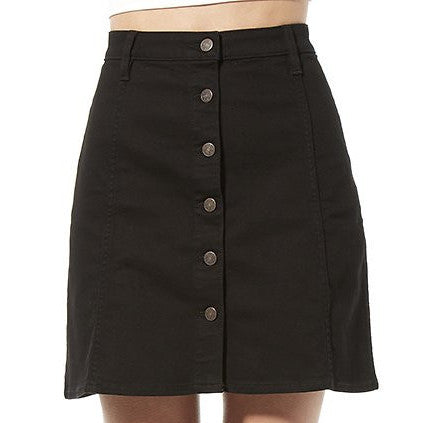 Riders By Lee Button Front Skirt Ex Black