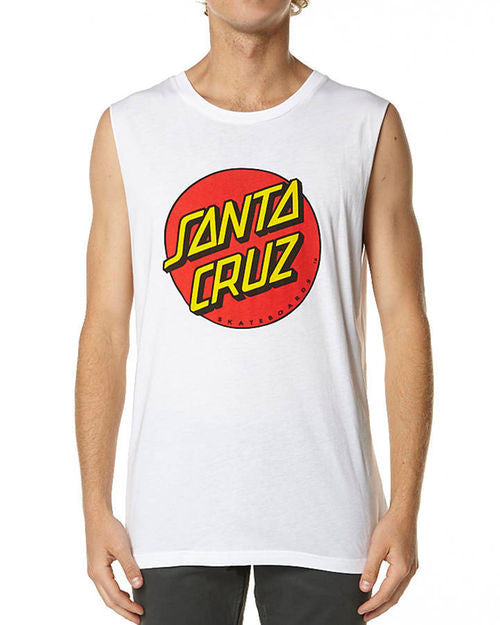 Santa Cruz Big Dot Muscle Tee White W15SCT1151