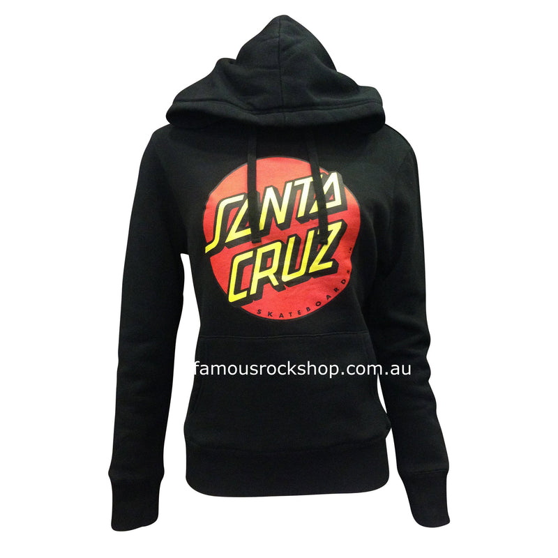 Santa Cruz Big Dot Girls Pop Over Hoddie 1244 Colour: Black Material: 80% Cotton 20% Polyester   Famous Rock Shop Newcastle 2300 NSW Australia