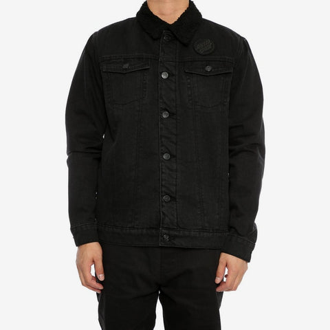 Santa Cruz Seacliff Sherpa Denim Jacket Wash Black SC-MJA7482 Famous Rock Shop Newcastle 2300 NSW Australia