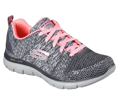 Skechers Flex Appeal 2.0 High Energy Charcoal/Coral 12756