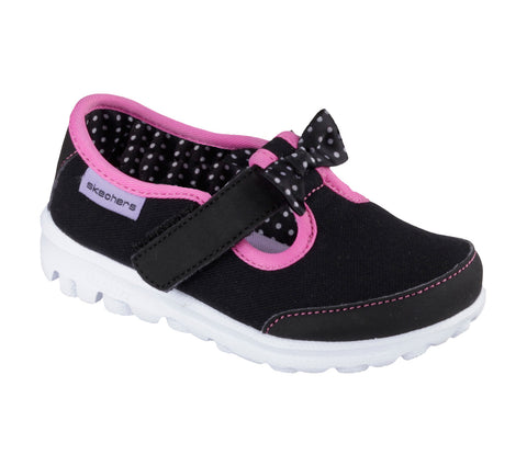 Skechers Infants GO Walk Bitty Bow Black Pink Famous Rock Shop Newcastle NSW Australia