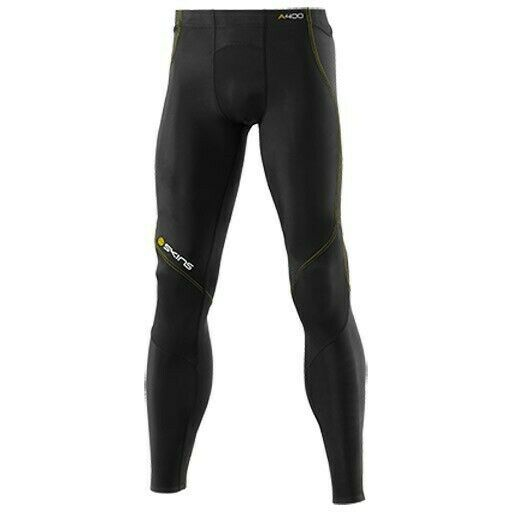Skins Active A400 Men's Long Tights with Yellow Stitching