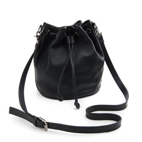 Stitch & Hide Olivia Leather Black Bucket Bag