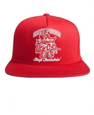 Obey Stop Snitchin' Snapback RED