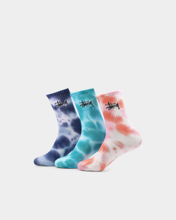 Stussy Women's Graffiti Multicoloured Tiedye Sock 3Pk ST705022 Famous Rock Shop Newcastle 2300 NSW Australia