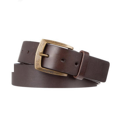 Globe Supply Belt, featuring a genuine leather construction, and an antique gold-toned buckle fastening.​- Width: 4cm- Smooth, genuine leather- Antique gold-toned buckle with logo branding Famous Rock Shop Newcastle 2300 NSW Australia