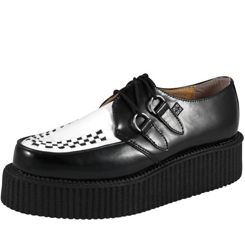 T.U.K Black and White Leather Mono Creeper A6804