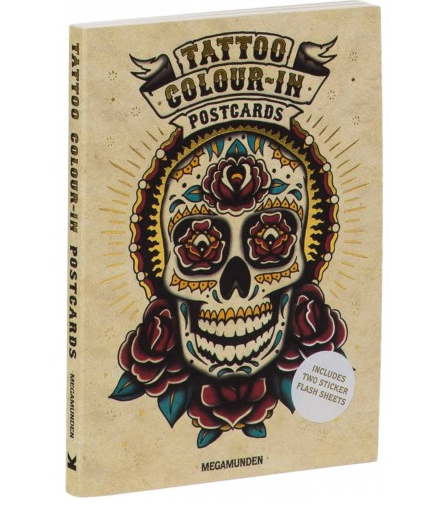 Tattoo Colour-In Postcards by Megamunden