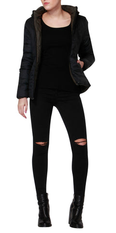 Betty Basics Thatcher Puffer Jacket Black / Olive