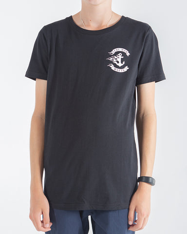 The Mad Hueys Youth Flamin Anchor Short Sleeve Tee Black H419B01004 Famous rock shop Newcastle NSW Australia