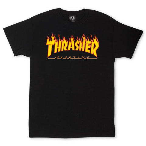 Thrasher Flame Tee Black Famous Rock Shop 517 Hunter Street Newcastle 2300. Australia
