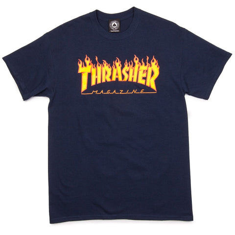 Thrasher Flame Tee navy Famous Rock Shop 517 Hunter Street Newcastle 2300. Australia