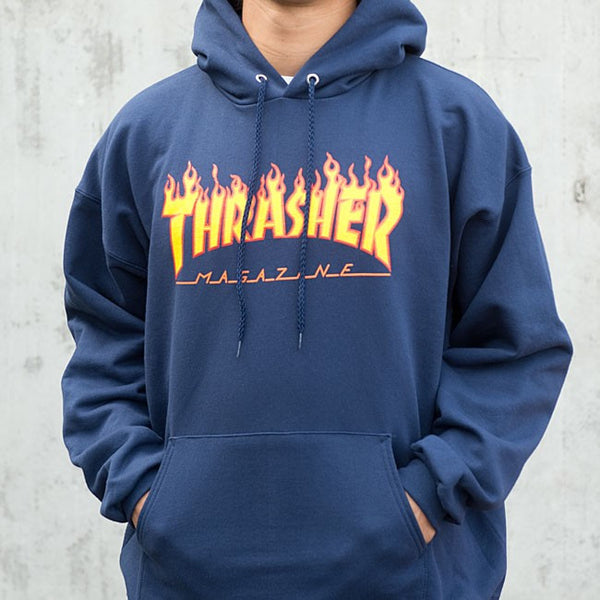 68b558c442ea Thrasher Flame Logo Hood Navy 20365073 – Famous Rock Shop