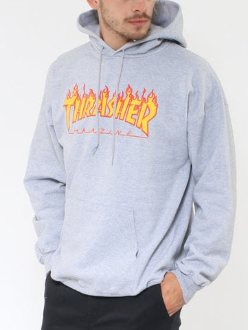 Thrasher Flame Logo Hood 20365073 Light Grey