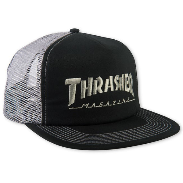 Thrasher Logo Embroided Mesh Cap Black Grey Snapback