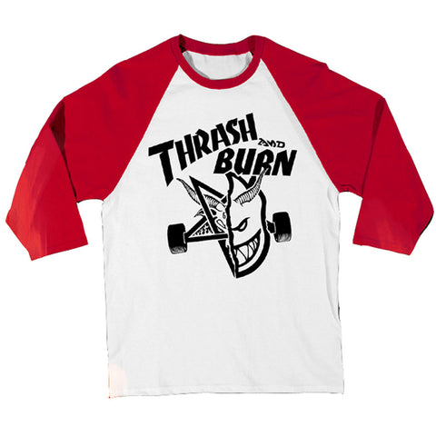 Thrasher x Spit fire Thrash and Burn Raglan Red White