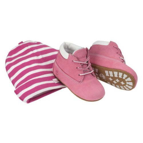 Timberland Infant Crib Pink Booties and Hat Set