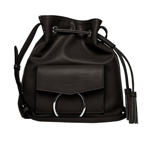 Urban Original Wild Fox Vegan Leather Black Bucket Bag