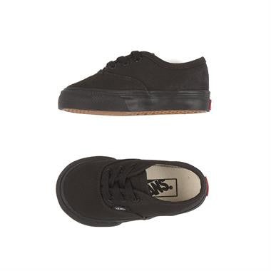 Vans Authentic Black/ Black Toddlers Canvas upper Black Skate silhouette Rubber sole Toddlers Sizes Famous Rock Shop Newcastle 2300 NSW Australia